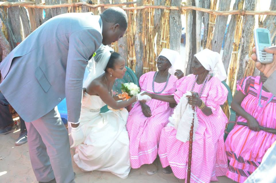 Here I am greeting some of the elders in my husband's family.